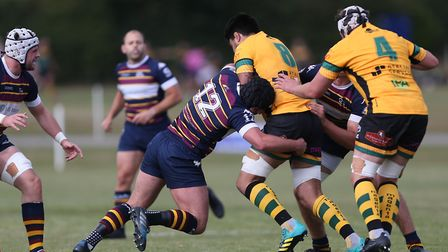 Nico Defeo of Old Albanian RFC tackles an opponent in the match between Old Albanian RFC v Bury St E