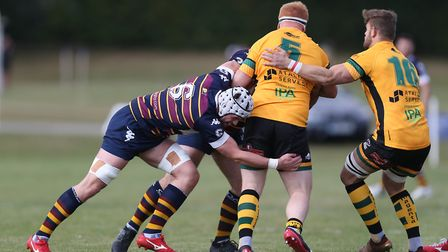Conor Gracey of Old Albanian RFC tackles in the match between Old Albanian RFC v Bury St Edmonds. Pi