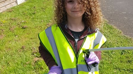 Lou is going aroun St Neots picking up litter in an effort to help the enviroment