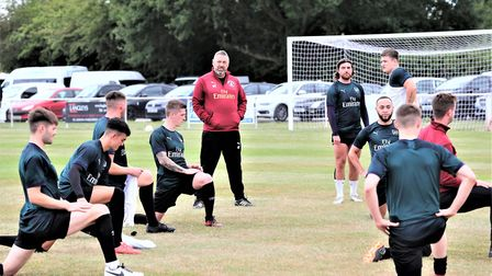 Colney Heath warm-up prior to to their FA Cup tie against Corby Town. Picture: JIM WHITTAMORE