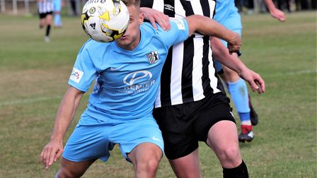 Jon Clements in action for Colney Heath in their FA Cup tie against Corby Town. Picture: JIM WHITTAM