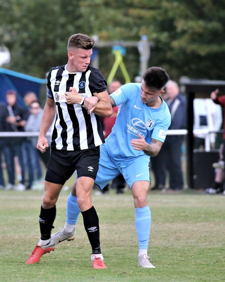 Jack Woods in action for Colney Heath in their FA Cup tie against Corby Town. Picture: JIM WHITTAMOR