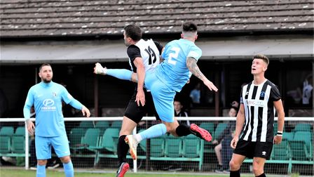 Colney Heath in action in their FA Cup tie against Corby Town. Picture: JIM WHITTAMORE