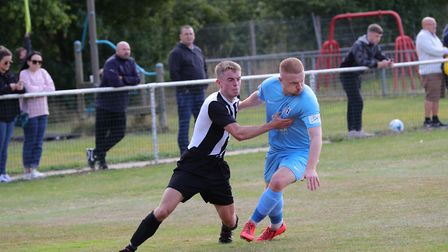 Dominic Knaggs in action for Colney Heath in their FA Cup tie against Corby Town. Picture: JIM WHITT