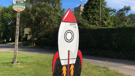 A rocket, built by Steve Wilson and painted by Ellie Cannon, marks the return of Sandon Fete - which