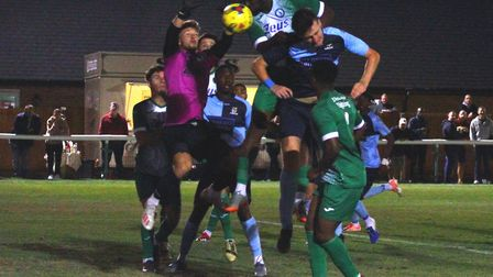 Action from St Neots Town's replay defeat at Biggleswade Town in the FA Cup. Picture: DAVID R. W. RI