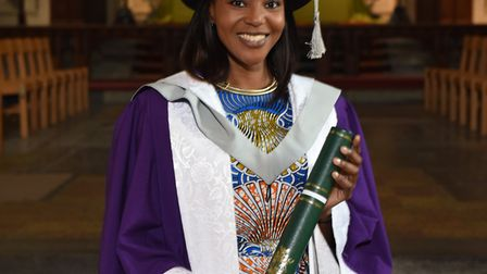 Funke Abimbola was given an Honorary Doctorate from the University of Hertfordshire for her work in