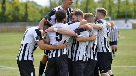St Ives Town players celebrate during their FA Cup success against Berkhamsted. Picture: DUNCAN LAMO