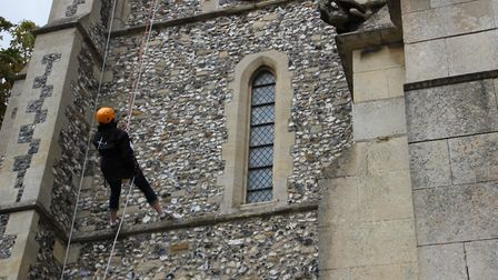 Abseilers at Bassingbourn church. Picture: St Peter & St Paul, Bassingbourn