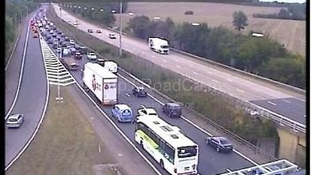 Traffic is delayed by up to 45 minutes on the M1 due to a crash between Juction 6a and 7. Picture: w