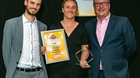 Sarah McKenna, Role Model of the Year, presented by Herts Advertiser editor Nick Gill of Archant. Pi