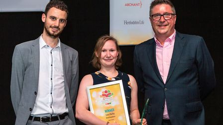 Lucy Hurley, Good Neighbour Award, presented by Herts Advertiser Editor Nick Gill. Picture: Cathy Be