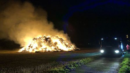 Hundreds of tonnes of straw was torched in Longstanton. Picture: CFRS