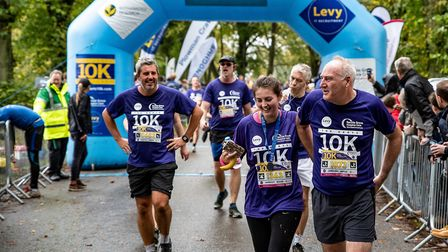 Herts 10K 2019 - happy faces at the finish line. Picture: Neil Marshmant