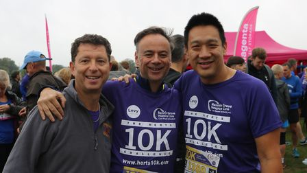 Herts 10K 2019 - Lawrence Levy, Cllr Chris Davies and Dave Oh.