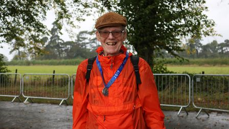 Herts 10K 2019 - 85-year-old Andy Bell finishing the 10K walk.
