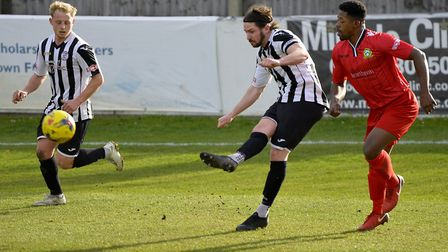Captain Robbie Parker scored twice as St Ives Town were beaten at Rushall Olympic. Picture: DUNCAN L
