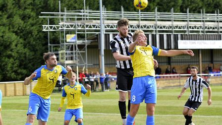Charlie De'Ath was sent off as St Ives Town succumbed to a late goal against Rushall Olympic. Pictur