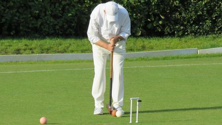 Geoff Morrison in action for St Albans Croquet Club.