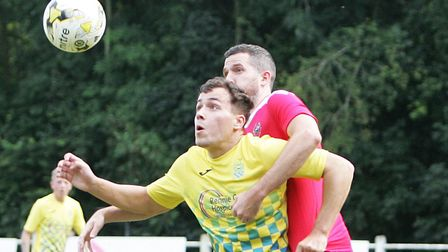 Jake Anthony scored for Harpenden Town at Arlesey Town.Picture: KARYN HADDON