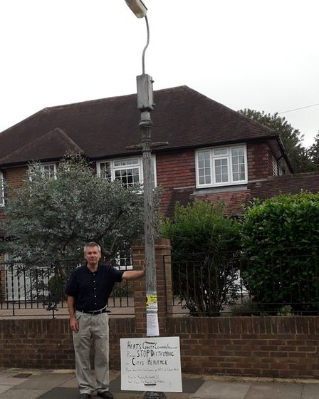 David Kaloczi has been campaigning to stop Hertfordshire County Council (HCC) removing lampposts. Pi