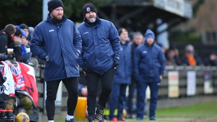 Royston Towns Chris Watters (left) and manager Steve Castle. Picture: DANNY LOO