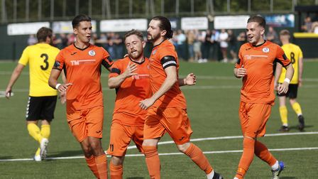 St Ives Town players celebrate a goal at Rushall Olympic. Picture: LOUISE THOMPSON