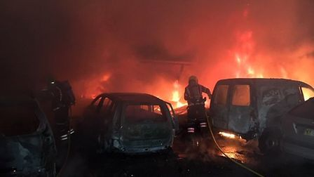 Eight vehicles went up in flames following an arson attack in Farcet. Picture:CFRS
