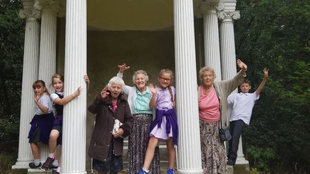 Margaret House care home residents stepping out at St Paul's Walden Bury with 'young carers' from Ba