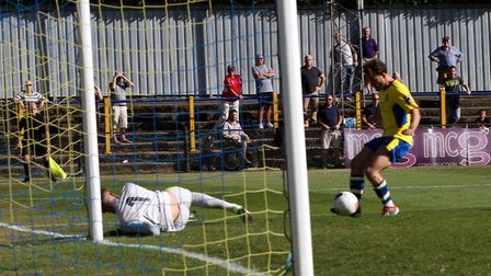 Joe Iaciofano scores St Albans City's first goal against Worthing in the FA Cup. Picture: JIM STANDE