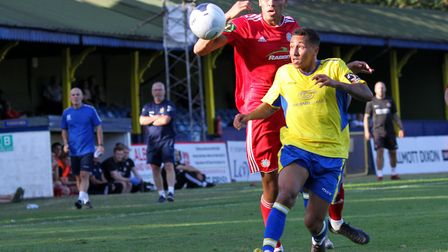 Zane Banton in action for St Albans City against Jalen Jones of Worthing in the FA Cup. Picture: JIM