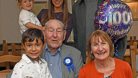 George Smith was joined by family in Houghton for his 100th birthday. Picture: ARCHANT