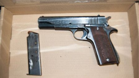 Met police officers found a pistol in the bags. Former St Albans City FC player Ralston Gabriel and