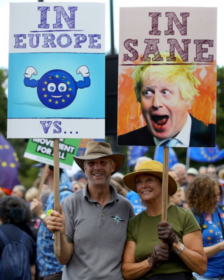 Pro-European Union supporters gather in central London, ahead of the March for Change. Picture: Aaro