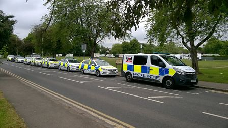 Herts police enforceing an anti-trespassing order on travellers on Bernards Heath. Picture: Herts po