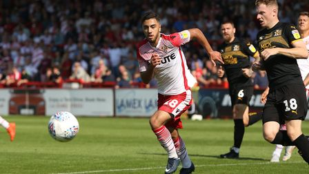Andronicos Georgiou in action for Stevenage in the League Two match against Cambridge United in Sept