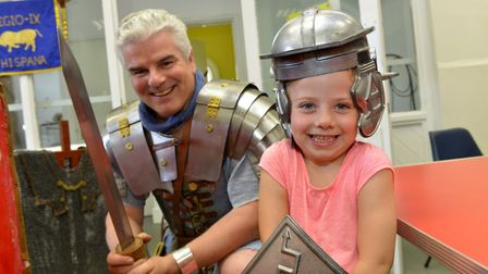 Sienna Sveinsson pictured with Roman soldier Neil Turner. Picture: DUNCAN LAMONT