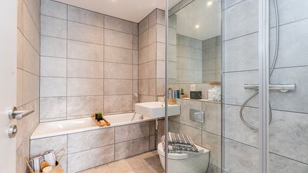 The bathroom at Hertfordshire House's show apartment. Picture: Angle Property