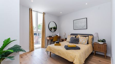 The bedroom in the Hertfordshire House show apartment. Picture: Angle Property