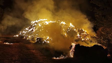 The scene of a farm fire in Great Paxton earlier this month. Picture: CFRS