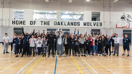 Rugby player Joel Kpoku reopened the sports hall at Oaklands College in St Albans. Picture: Oaklands