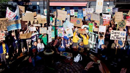 St Albans children protested in the city centre as part of the Global Climate Strike. Picture: John