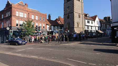 Children held a demonstration in St Albans city centre as part of the Global Climate Strike.