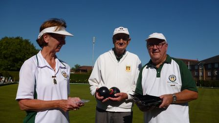 Jean Scott, Steve Hipperson and president Bill Burrows before the final game of Potters Bar Bowls Cl