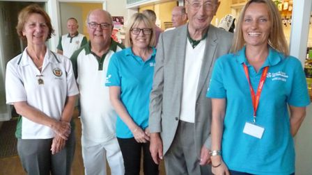 Jean Scott, Steve Hipperson and Bill Burrows of Potters Bar Bowls Club with representatives of the E