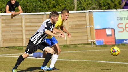 Ben Seymour-Shove in action for St Ives Town during their FA Cup tie against Canvey Island. Picture: