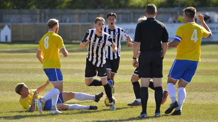 St Ives Town players Jack Snelus and Tom Wood don't look happy with this decision against Canvey Isl