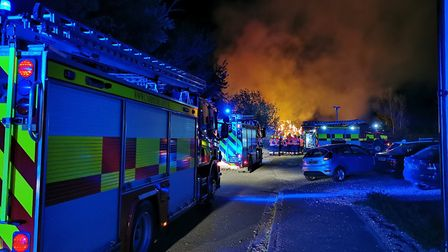 The scene of the stack fire in Great Paxton. Picture: CFRS