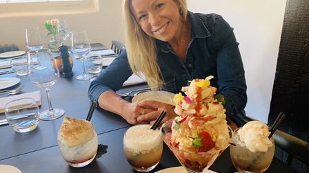 Stacey Turner from the It's OK To Say campaign with the Kilimanjaro dessert and cocktails.
