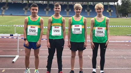 The Under 15 Boys' squad of, from the left, Jacob Preston, Ciaran Burke, Dominic Pauley and Howard C